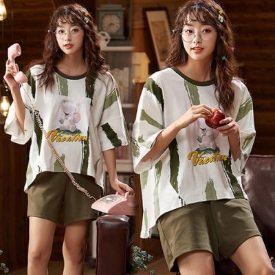【韓國K.W.】(預購)造型印花輕甜時尚套裝褲-1色