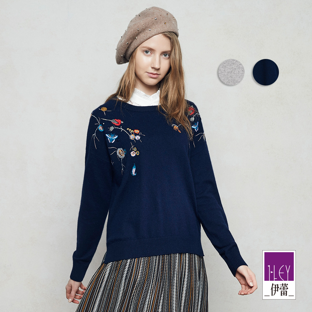 ILEY伊蕾 時尚花鳥刺繡質感毛衣(灰/藍)