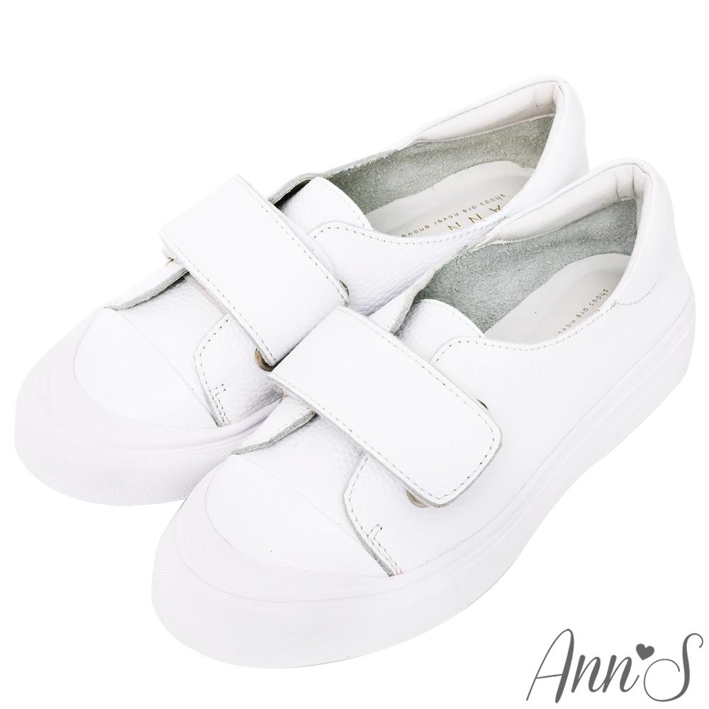 Ann'S餅乾家族-魔鬼氈全真皮小白鞋
