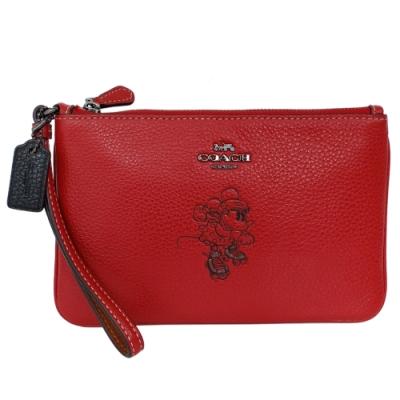 COACH x Disney紅色全皮溜冰米妮方扁中款手拿包