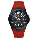 阿爾卑斯軍錶S.A.M 武力全開系列-熱情紅/橡膠錶帶/43mm