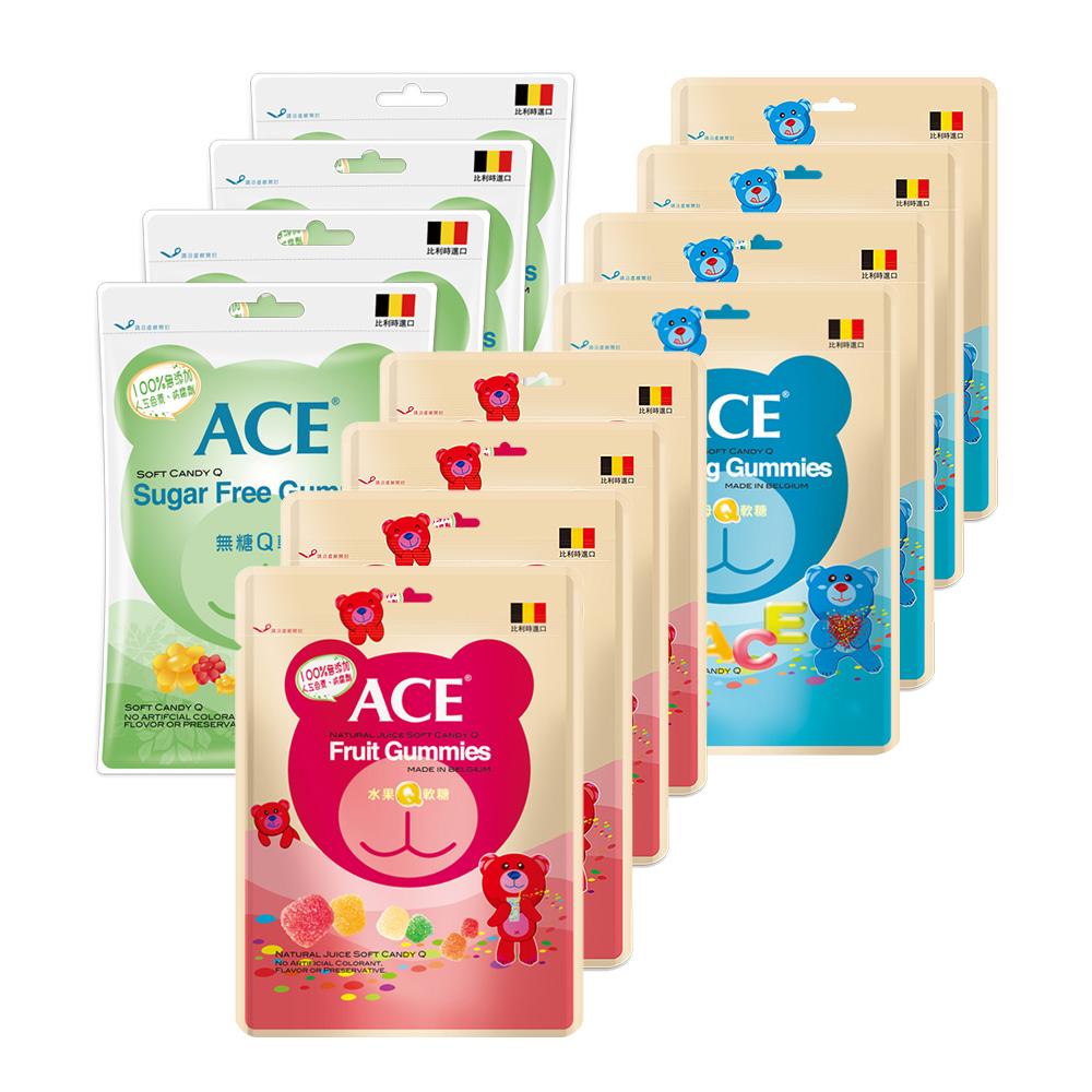 ACE 軟糖(240g/包)超值12入(字母Q+無糖Q+水果Q 各4入)