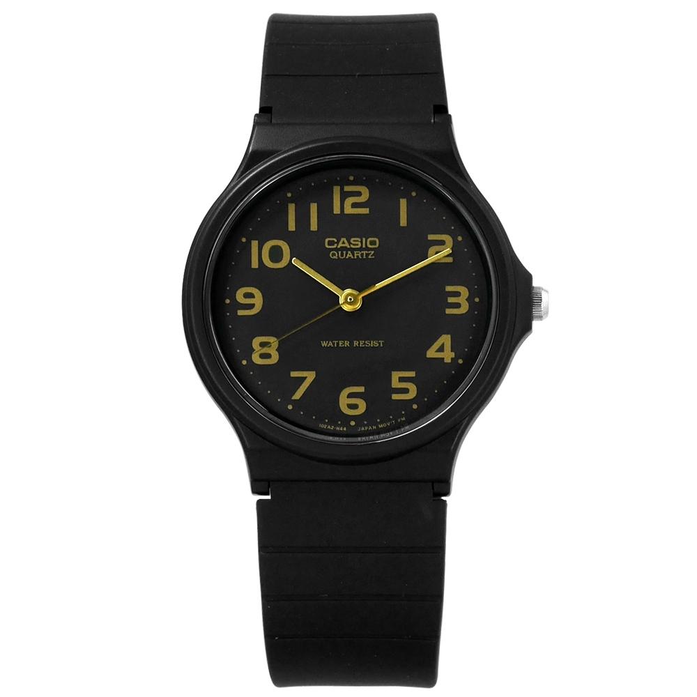 CASIO 卡西歐 簡潔復刻 數字 橡膠手錶-黑金色 MQ-24-1B2 33mm