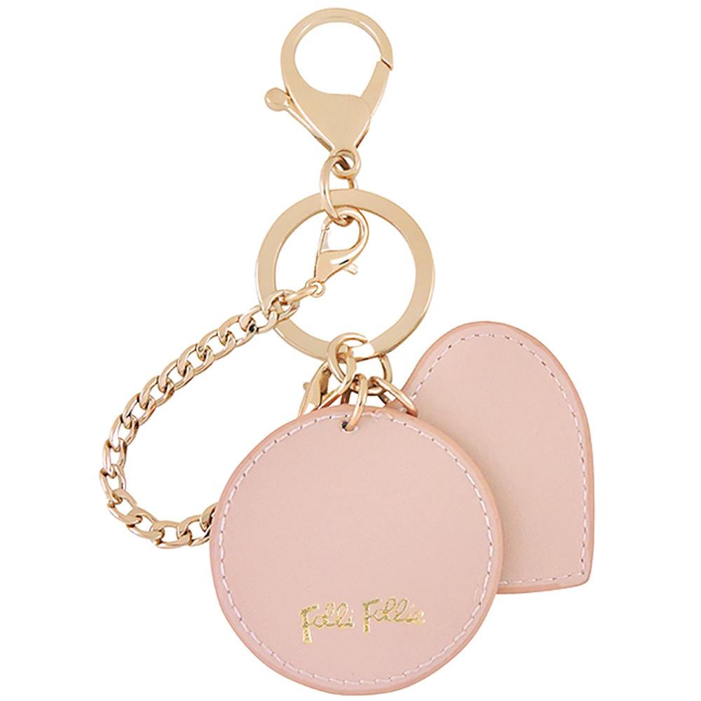 Folli Follie 粉紅色愛心造型皮革墜飾鑰匙圈吊飾