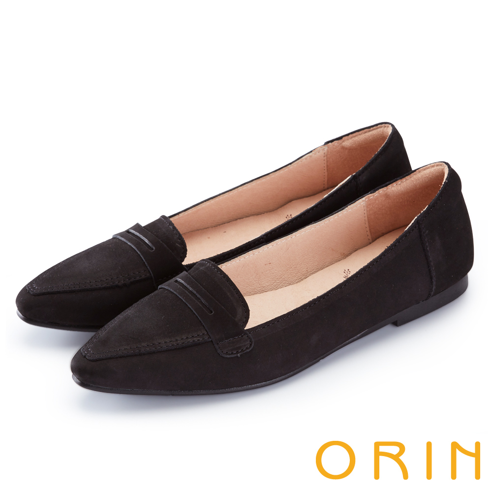 ORIN 經典復古 嚴選優質牛皮尖頭樂福平底鞋-黑色