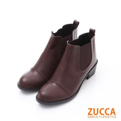 ZUCCA 絨質彈性帶拼接低跟短靴-棕色-z6233ce