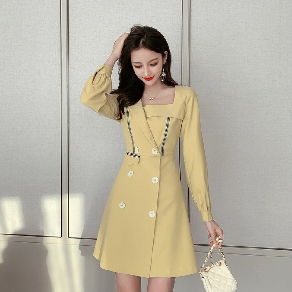 DABI 韓國風修身西裝領氣質顯瘦簡潔長袖洋裝