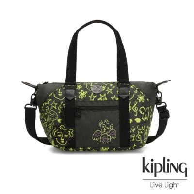 Kipling Christine Lau聯名款-螢光綠音樂塗鴉側背包-ART MINI