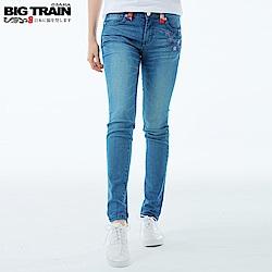 BigTrain 中腰流水紫櫻窄管9分褲-女-藍色