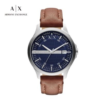 A│X ARMANI EXCHANGE HAMPTON 漢普頓菁英棕色真皮男錶-46mm(AX2133)