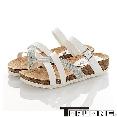 TOPU ONE 素雅輕量減壓吸震腳床型涼鞋童鞋-白