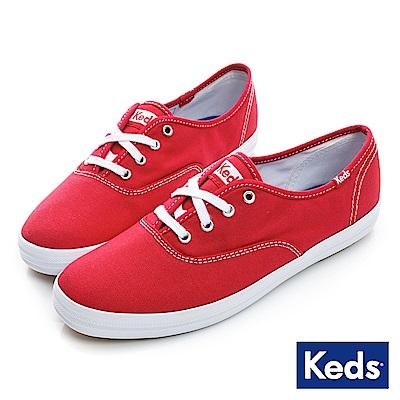 Keds 品牌經典綁帶休閒鞋-紅色