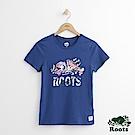 Roots -女裝- 花卉海狸短袖上衣- 藍