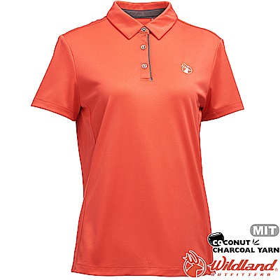 Wildland 荒野 0A71603-84橘色 女椰炭紗本布領抗菌上衣