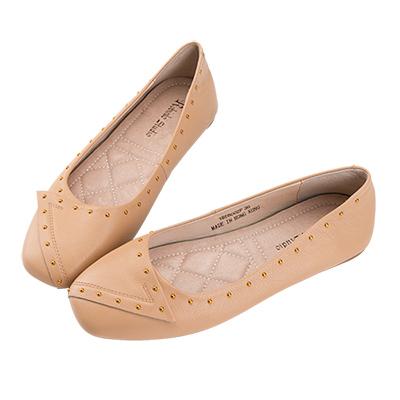 Robinlo 簡約名媛質感鉚釘方頭娃娃鞋 杏