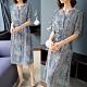 【韓國K.W.】韓國設計完美女神民族風V領印花洋裝