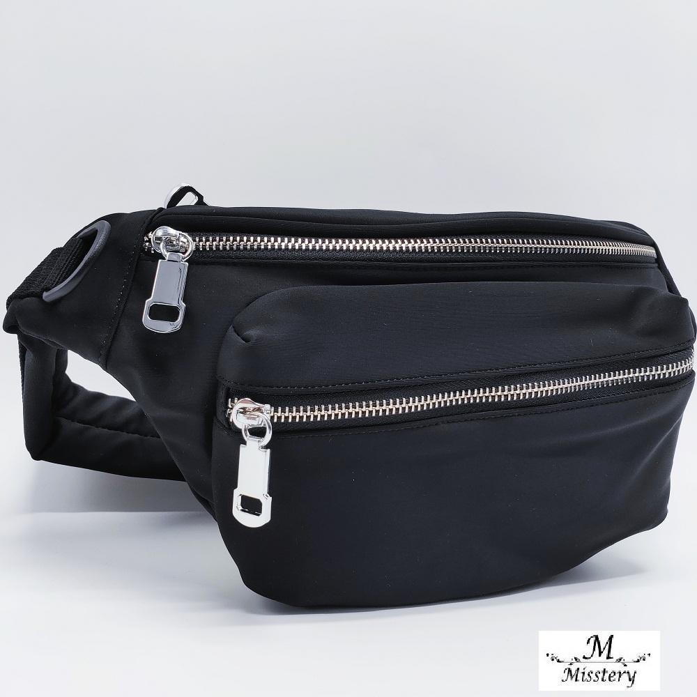 【Misstery】防潑水面料旅遊休閒腰包-黑(台灣防潑水面料)