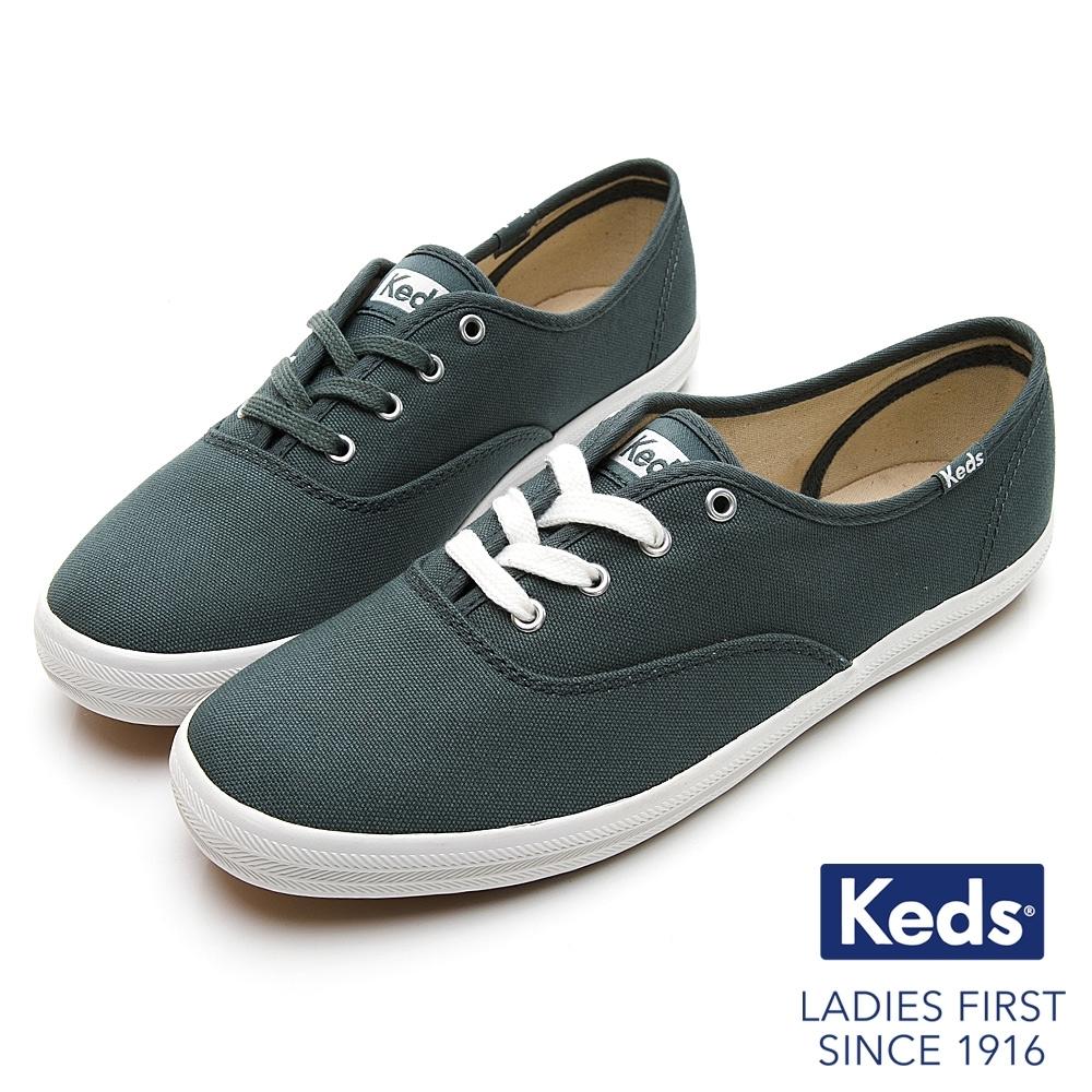 Keds CHAMPION 玩色經典綁帶休閒鞋-深綠