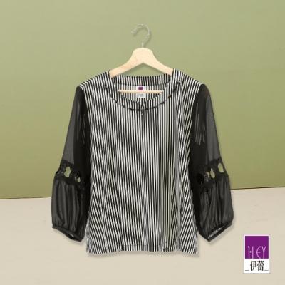 ILEY伊蕾 縷空造型袖條紋上衣(黑)