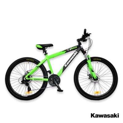 Kawasaki 26吋24速SHIMANO雙碟煞鋁合金避震登山車/綠色