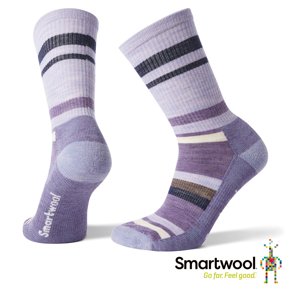 SmartWool 女 輕量減震徒步印花中長襪 淺紫
