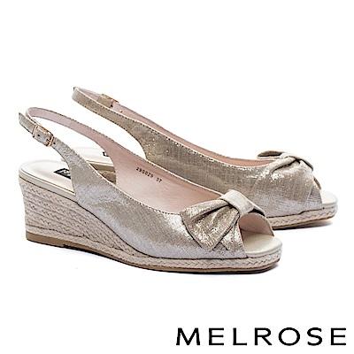 高跟鞋 MELROSE 典雅蝴蝶結羊麂皮魚口後繫帶楔型高跟鞋-金