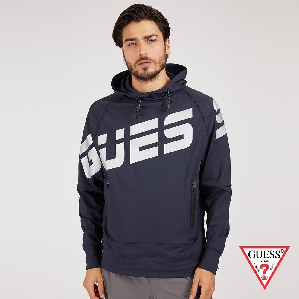 GUESS-男裝-立領連帽風衣帽T-藍 原價2790