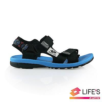 LOTTO 義大利 童 流行織帶涼鞋 (黑)