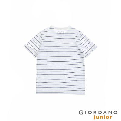 GIORDANO 童裝Greeting印花條紋T恤 - 08 白x藍