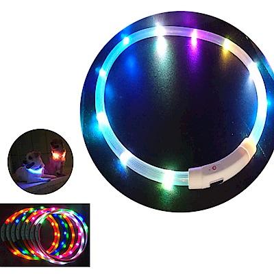 摩達客 LED寵物發光項圈(USB充電式 / 圓周70CM長/七彩光色燈條款)