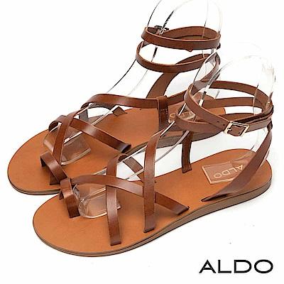 ALDO 原色真皮不對稱交叉繫帶涼鞋~個性焦糖