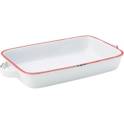 《Utopia》復古雙耳長方石陶烤盤(紅25.5cm)