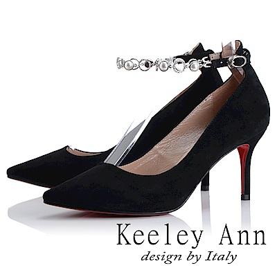 Keeley Ann 高貴典雅~寶石腳踝釦帶全真皮尖頭高跟鞋(黑色-Ann)
