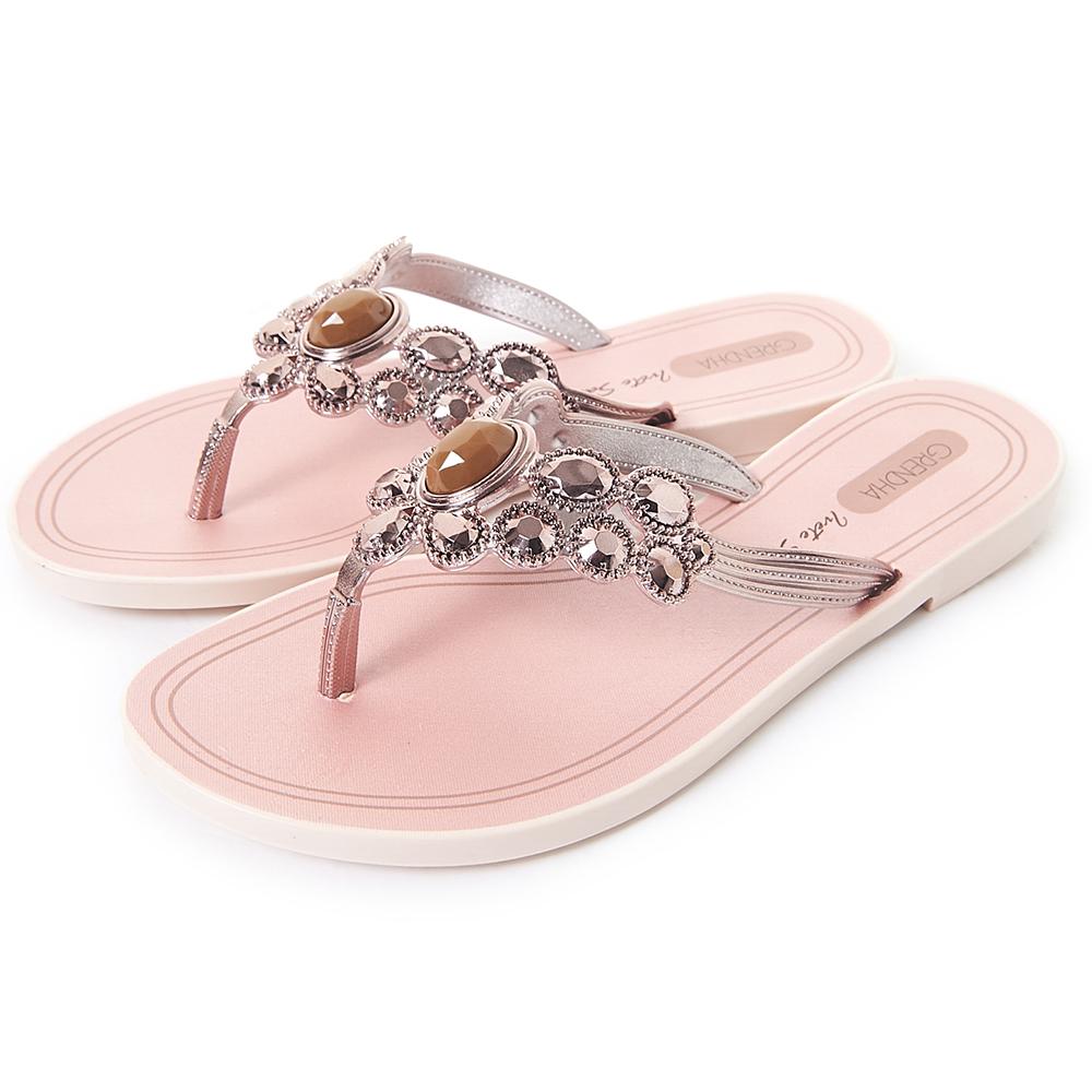 Grendha 璀璨名媛鑽飾夾腳鞋-玫瑰金