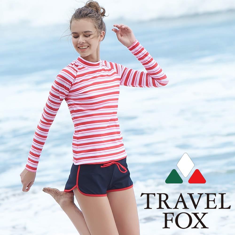 TRAVEL FOX夏之戀 大女衝浪裝三件式泳衣