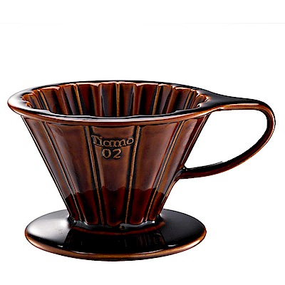 Tiamo V02花瓣形陶瓷咖啡濾杯組-咖啡色