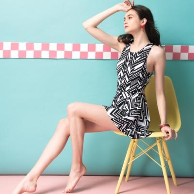 沙兒斯 泳裝 黑白斜紋露背設計連身裙女泳裝