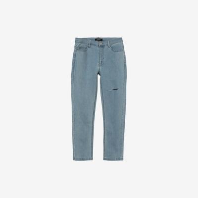 H:CONNECT 韓國品牌 女裝 -水洗割破合身Skinny牛仔褲-深藍色