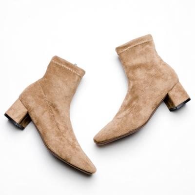 River&Moon短靴-素面尖頭絨料中跟襪靴 杏