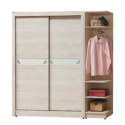 綠活居 馬波亞6.5尺木紋推門衣櫃/收納櫃組(吊衣桿+抽屜)-195X60X202cm免組