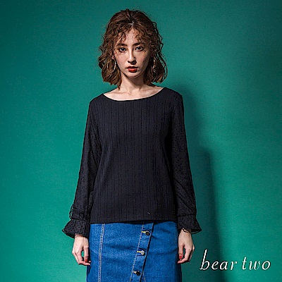 beartwo 時尚拼接長袖網紗造型上衣(2色)