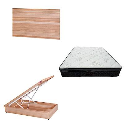 綠活居 梅娜3.5尺單人床台三式組合(床頭片+後掀床底+正三線乳膠獨立筒)五色可選