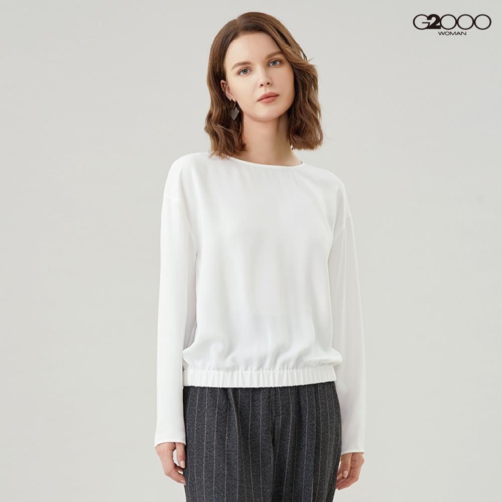 G2000時尚條紋長袖休閒上衣-白色