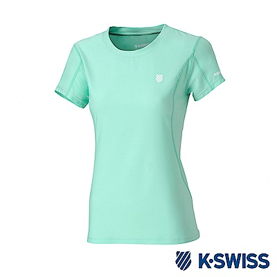 K-SWISS  PF Melange Tee排汗T恤-女-薄荷綠