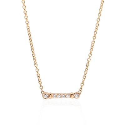 Tiffany&Co. Fleur de Lis 亮鑽鑰匙鏈吊墜18K玫瑰金項鍊