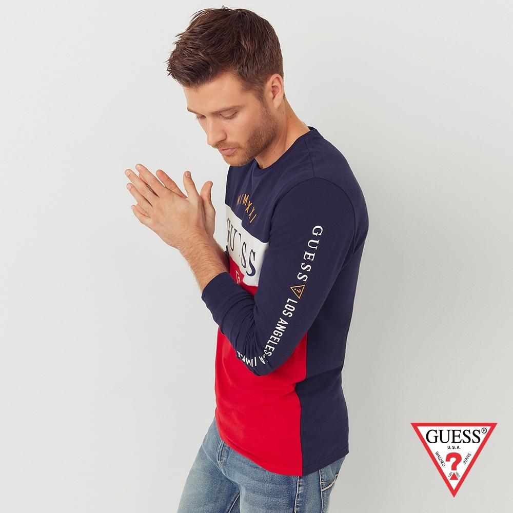 GUESS-男裝-拼接撞色長袖上衣-深藍 原價2490