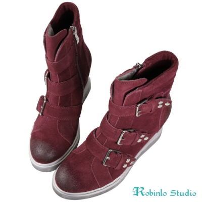 Robinlo 牛絨擦色飾釦增高休閒靴 酒紅色