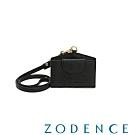 ZODENCE DUTTI系列進口牛皮可調式頸帶橫式證件套 黑