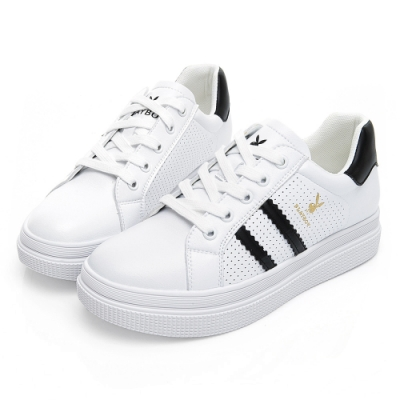 PLAYBOY 條紋亮蔥厚底休閒鞋-白黑