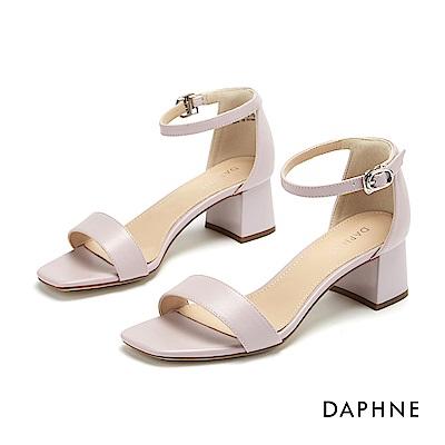 達芙妮DAPHNE 涼鞋-簡約一字帶方頭繫踝粗跟涼鞋-淺紫色